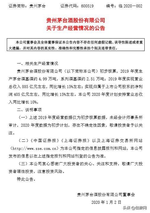 贵州茅台集团茅台酒2019年销售额885亿,利润405亿