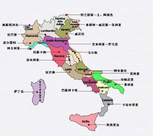 意大利主要葡萄酒产区